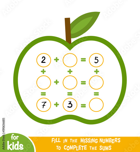Counting Game for Children. Educational a mathematical game. Addition worksheets with apples