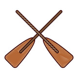 two wooden crossed boat oars sport vector illustration drawing design - 190645223