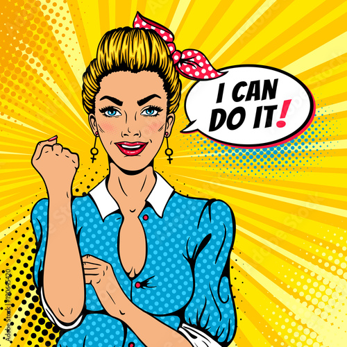 I Can Do It Poster Pop Art Sexy Strong Blonde Girl American Symbol