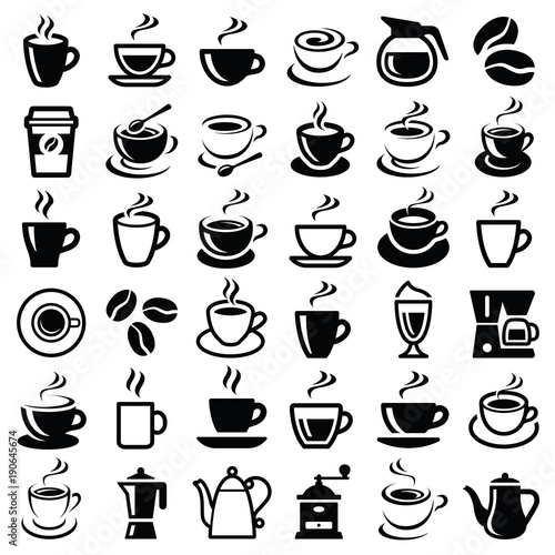 Coffee icon collection - vector outline illustration and silhouette - 190645674