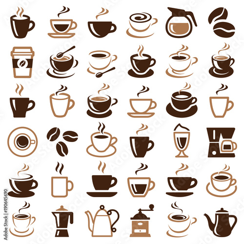 Coffee icon collection - vector outline illustration and silhouette - 190645690