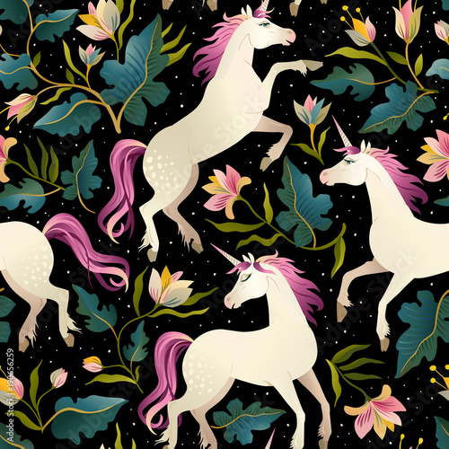 Materiał do szycia Seamless pattern with beautiful unicorns. Vector magic background for kids design.