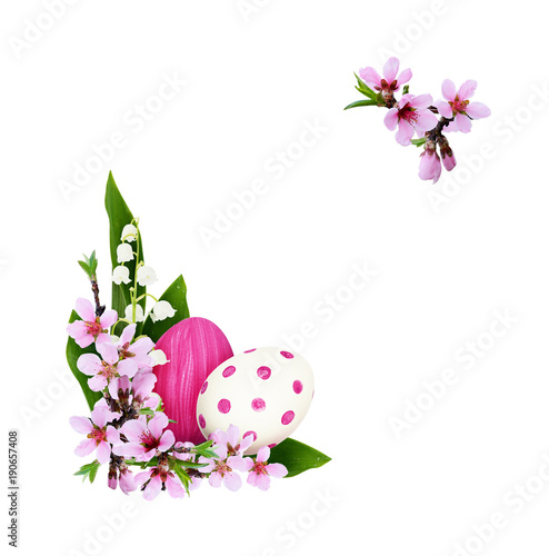 Fotobehang Lelietjes van dalen Spring twigs of peach flowers and lily of the valley with painted eggs in corner Easter arrangements