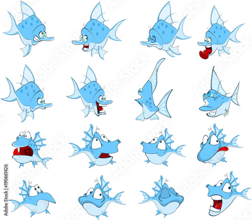 Fotobehang Babykamer Set of Cartoon Illustration. A Cute Fish for you Design