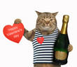 The cat holds a bottle of sparking wine and a red heart. Happy Valentine's day.