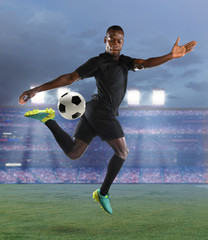 African American Soccer Player in Action