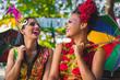 Quadro Carnival Brazil 2018. Dancers wearing carnival costumes and dancing in Olinda, Pernambuco, Brazil.