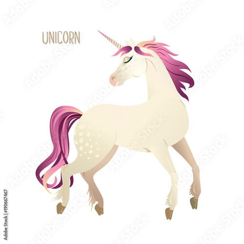 Poster Pony Beautiful watercolor unicorns set in pink and purple colors. Vector illustration.