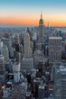 New York City skyline, Manhattan at sunset.