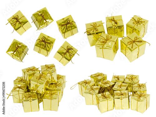 Golden gift box. (Isolate)