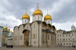 Assumption Cathedral of the Moscow Kremlin in the gloomy April afternoon. Moscow, Russia
