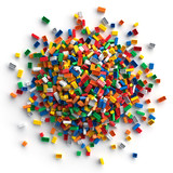 Pile of colored toy bricks isolated on white background. - 190675200
