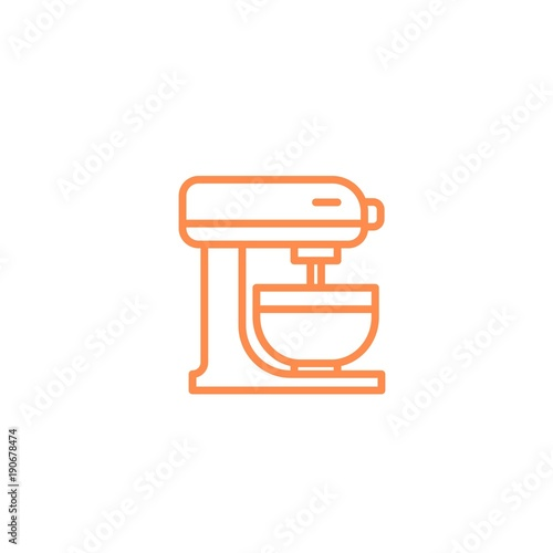Mixer with bowl icon. Kitchen appliances for cooking Illustration. Simple thin line style symbol.