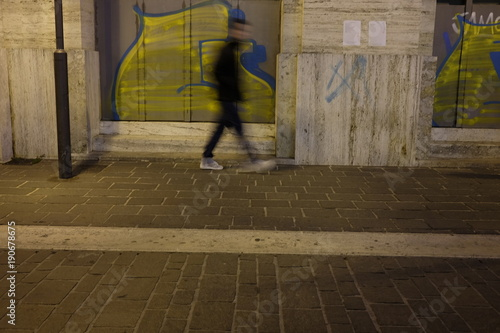 person out of focus for the city - 190678675