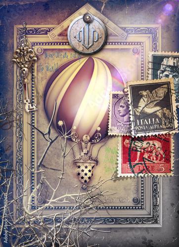 Deurstickers Imagination Sfondo con cornice surreale,francobolli e mongolfiera