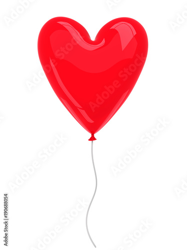 Red balloon isolated on white - 3d render