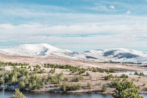 Poster Pool nature landscape of snow mountain hills with lake water