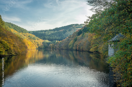 Deurstickers Groen blauw River Dam - Fall Colors
