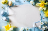Happy Easter day; Holidays background with Easter eggs on blue table - 190697622