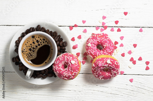 Plagát Coffee an pink donuts