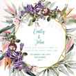 Beautiful wedding invitation card or save the date with peach roses, leafs and tropical plants