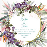 Beautiful wedding invitation card or save the date with peach roses, leafs and tropical plants - 190701023