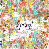 Bright spring vector background with rustic flowers - 190701470