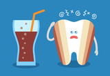Cartoon tooth with a glass of soda and with decay or caries. Dental illustration. Dentistry icon. Teeth discoloration. Flat style. - 190702675