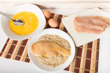 Food preparation of chicken cutlets with bread crumbs and egg wash