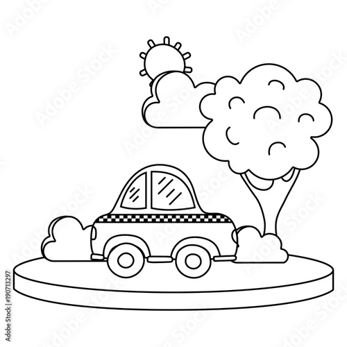 Papiers peints Cartoon draw line taxi car service in the city with tree