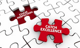 Chase Perfection Catch Excellence Puzzle Piece 3d Illustration - 190715430