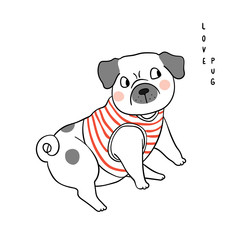 Vector illustration character design adorable pug dog and wording love Draw doodle style