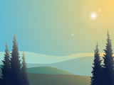 Landscape background with forest and silhouettes of hills. Vector illustration - 190729220