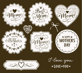 Happy Mothers Day. Set of decorative Mothers Day tags for your design. Vector illustration