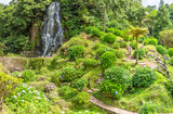 Waterfall in the Ribeira dos Caldeiroes near Achada on the island of Sao Miguel, Portugal - 190735066