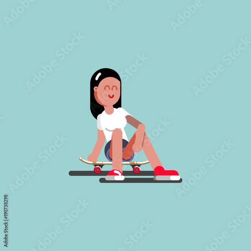 Aluminium Skateboard Girl skater siting on her board