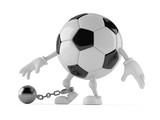 Soccer ball character with prison ball - 190740698