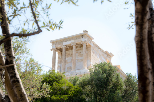 view of the Acropolis through the olive tree in Athens , Greece