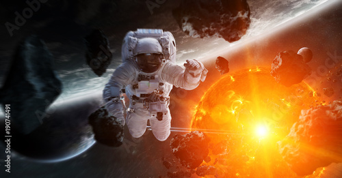 Foto op Canvas Heelal Astronaut floating in space 3D rendering elements of this image furnished by NASA
