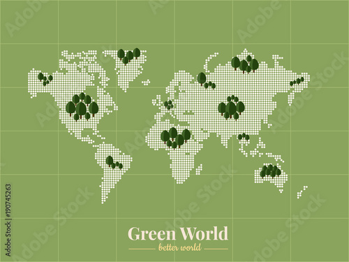 bitmap of world and green areas around the world