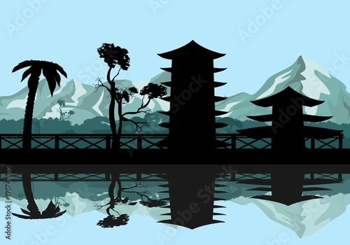Aluminium Boerderij Chinese vector landscape silhouettes with pagodas and bridges, reflected on the water