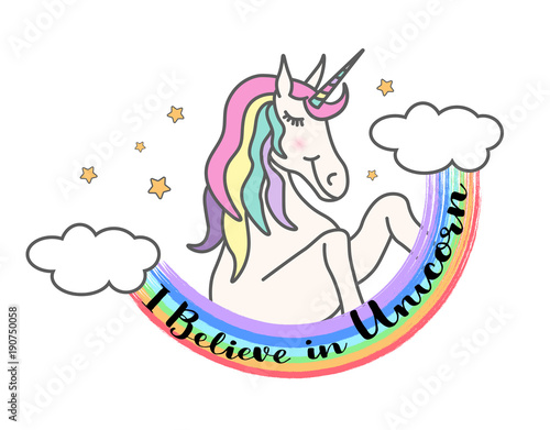 I believe in unicorn. Vector cute illustration with unicorn and rainbow