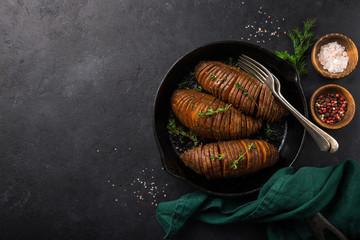 roasted hasselback sweet potato