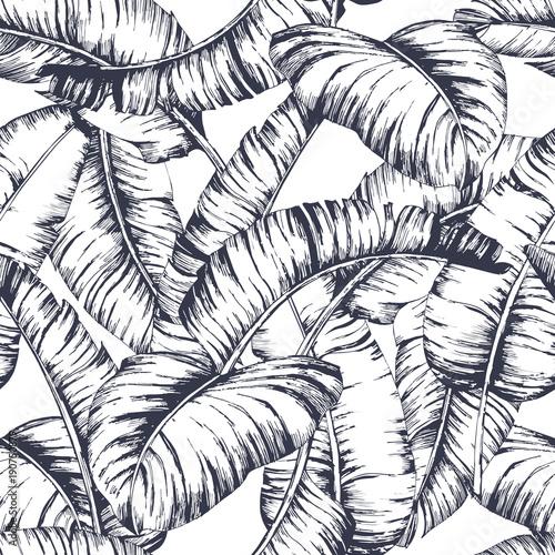 Seamless banana leaves pattern for fashion textile, black line plant vector illustration - 190750879