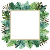 Watercolor frame with tropical palm leaves. Vector illustration - 190751005