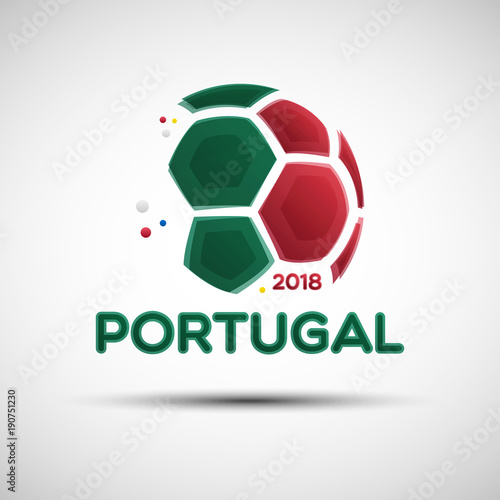 Foto op Canvas Bol Abstract soccer ball with Portuguese national flag colors