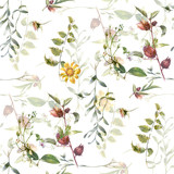 Watercolor painting of leaf and flowers, seamless pattern on white background - 190753411