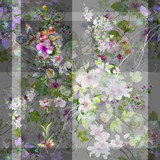 Watercolor painting of leaf and flowers, seamless pattern on gray background - 190753431