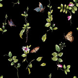 Watercolor painting of Butterfly and flowers, seamless pattern on  dark  background - 190753432