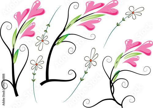 Tuinposter Vlinders in Grunge rose and heart shape flower design